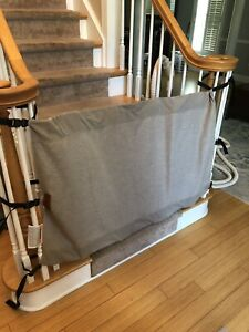 """Banister to Banister-The Stair Barrier- Burlap 48"""" Wide Adjustable Baby Gate"""