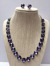 Swarovski Crystal Element Tanzanite Necklace Earrings 12mm Jewelry Set New