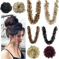 Real Thick Hair Extension Scrunchie Wrap Messy Bun Updo Curly Ponytail Chignon
