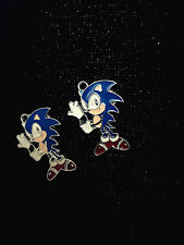 New Lot blue Sonic Enamel Metal Charms Pendants DIY Jewelry Making Free Shipping