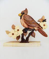 Cardinal Bird Dogwood Intarsia Wood Table Top Home Decor Lodge New