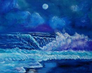 """HAWAII ARTIST SURF ART  """"Surreal Seascape"""". ORIGINAL OIL PAINTING"""