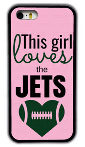 Chic Girl Love New York Jets Pink Rubber Phone Case For iPhone /Samsung /LG