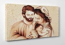 ☀️ Quadro Capezzale La Sacra Famiglia Stampa su Tela Canvas Vernice Pennellate