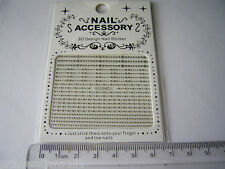 3D French Nail Tip Art stickers decals transfer Silver Glitter Dots Lines B042