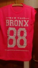 Neon Pink Fluro Fluorescent T Shirt Bronx 88 Mesh Athletic Top S/M New