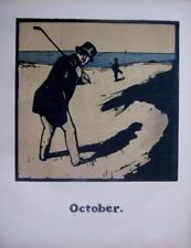 GOLF OCTOBER WILLIAM NICHOLSON GENUINE ORIGINAL LITHOGRAPH WOODBLOCK c1897