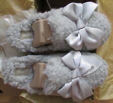 UGG Slippers Fluffy Addison Satin Bow Grey or Pink Girls or Women Sizes