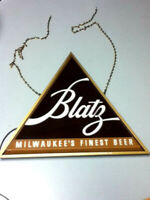 Blatz beer sign vintage lighted triangle light window wall bar display old MX6