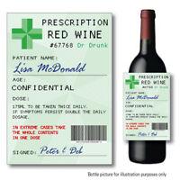 Personalised RED WINE Prescription bottle label Sticker Birthday Wedding 137