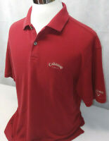 Callaway Golf Short Sleeve Red Mesh Combed Cotton Performance Polo Shirt Mens L