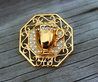 BROOCH , vintage brooch, mug, glass, gold-tone metal, rhinestones