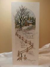 Holiday Seasonal Card Cottage Home Geese Snowy Greeting Gift Post Vintage