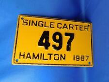 ONTARIO LICENSE PLATE HAMILTON SINGLE CARTER 1987 497 CANADA SHOP GARAGE SIGN