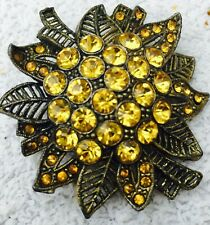 Colored Rhinestones Mid Century Collectible Vintage Floral Pin Brooch with Topaz