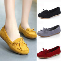 Womens Work Bow Suede Shallow Slip On Soft Flats Peas Shoes Moccasin Loafers NEW