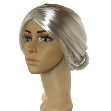 Women's Sexy Grey Bun Style Wig Old Woman Bun Fashion Wig Full Head Design