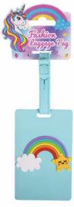 NEW - Cute & Bright Blue Novelty Childrens Rainbow Design Luggage/Suitcase Tag