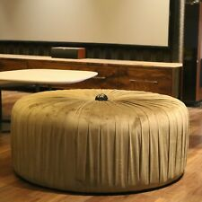 Pleated Design Round Brown Fabric Ottoman
