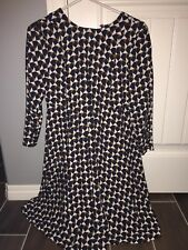 H & M Tunic Dress - 3/4 Sleeve - Geometric Tan white Navy - Size US 2 NWT