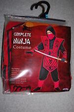 Boys Halloween COMPLETE NINJA COSTUME Red Black SIZE L 10-12