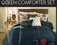 Hallmart Taylor 6 Piece Queen Comforter Set Blue White Pink Floral Peacock