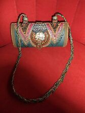 Mary Frances MOTHER OF PEARL Leather BEADED Shoulder EVENING Bag Handbag RARE!