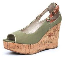 Pepe Jeans UK 3 Geminis Olive Green Wedge Heel Peep Toe Platform Sandals