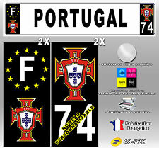 "Stickers Plaque D'immatriculation Fond Noir ""FPF PORTUGAL"" - 4 pièces 100x45 mm"