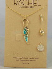Rachel Roy Goldtone PERSONALIZED Enamel Feather Skull Disc 4 Charm Necklace Set