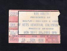 1981 Van Halen concert ticket stub Aladdin Phoenix AZ Fair Warning