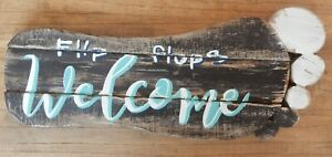 Large rustic Foot shape wood WELCOME sign / Flip flops / Beach Nautical theme