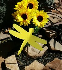 Dragonfly bent yellow wildlife spring garden yard lawn art w/ detachable stake