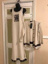 Fenini Brand Beige/Black 2 Peice Animal Logo Maxi Dress & Jacket Set Sz S