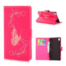 Sony Xperia Z3 Handy Tasche Wallet Case Schmetterling Butterfly Pattern Magenta