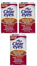 3 Pack Clear Eyes Maximum Redness Relief Eye Drops 1 oz Each
