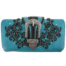 Western Buckle Tooled Leather Concealed Carry Purse Women Country Handbag Wallet