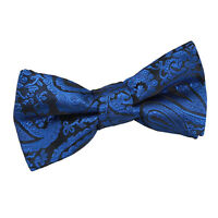 DQT Woven Floral Paisley Royal Blue Communion Page Boys Pre-Tied Bow Tie