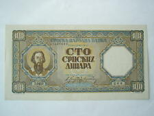 SERBIA Yugoslavia 100 dinara 1943 UNC Germany occupation World War II.