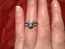 BEAUTIFUL NEW 14K WHITE GOLD SPINEL ENGAGEMENT/ WEDDING RING SET SZ 5.75 4 GR