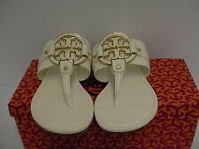 Women's tory burch slippers amanda flat thong tumbled leather bleach size 9.5