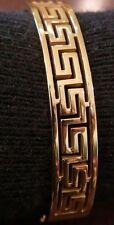 NEW WOMEN'S  GREEK KEY BANGLE CUFF BRACELET STAINLESS STEEL YELLOW GOLD PLATED