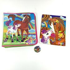 Rare! Vintage Lisa Frank Rainbow Chaser Horse Padded Zipper Binder With Folder