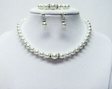 "12 ½"" Crystazzi White Glass Pearl Necklace/Bracelet/Earrings for Little Girl (Rh"
