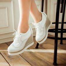 NEW Classic Style lace up front platform womens shoes round toe wedge heel
