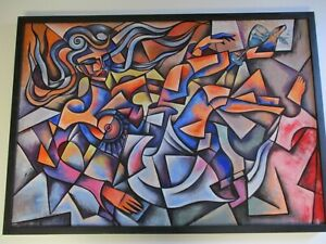 LARGE NUDE PAINTING CUBIST CUBISM MODERNIST PORTRAIT ABSTRACT EXPRESSIONISM