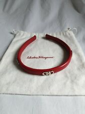 Salvatore Ferragamo Red Leather Headband new