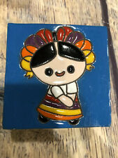 Handmade Wooden Jewelry Box With Talavera Tile Maria Mexican Rag Doll