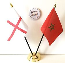 England & Morocco Double Friendship Table Flags & Badge Set