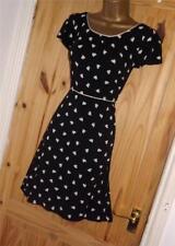Black cream polka dot hearts vintage repro WW2 40s 50s party tea dress sz 10 12